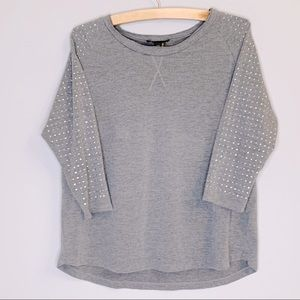 i Jeans by buffalo gray silver stud sleeve top S